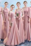 Vestido de dama de honor largo Escote en V Otoño Rectángulo Natural Drapeado
