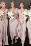 Vestido de dama de honor Sin mangas Dobladillos Elegante Falta Escote en V Cremallera