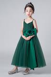 Vestido niña ceremonia Verano Corte-A Sin mangas tul Oscilación Escote de Tirantes Espaguetis