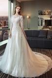 Vestido de novia Manga de longitud 3/4 Falta Corte-A Capa de encaje