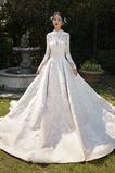 Vestido de novia Cola Real Encaje Camiseta Natural Escote con cuello Alto