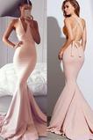 Vestido de fiesta largo Corte Sirena Falta Drapeado Espalda Descubierta