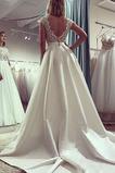 Vestido de novia Barco Falta Manga tapada primavera Espalda Descubierta
