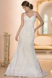Vestido de novia Escote en V Iglesia Cola Capilla Cremallera Corte Sirena
