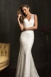Vestido de novia Corte Sirena Escote en V Satén Otoño Sin mangas Cremallera