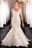 Vestido de novia Encaje Cremallera Otoño Moderno Escote en V Sin mangas