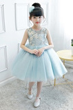 Vestido niña ceremonia Natural Joya Otoño Hasta la Rodilla Lazos Arco Acentuado