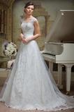 Vestido de novia Verano Corte-A Cordón Escote en V Formal Sala