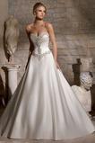Vestido de novia Cinturón de cuentas largo Escote Corazón Cremallera