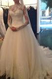 Vestido de novia Mangas Illusion Con velo Encaje Cintura Baja Clasicos