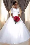 Vestido de novia Falta Manga corta Cordón largo Capa de encaje Verano