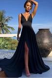 Vestido de fiesta Elegante Apertura Frontal Pera largo Escote en V Frontal Dividida