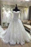 Vestido de novia Organza Manga corta Abalorio Iglesia Natural Falta