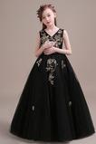 Vestido niña ceremonia Formal Hasta el suelo Cremallera Natural Con lentejuelas