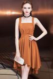 Vestido de cóctel Elegante Espalda Descubierta Asimétrico Dobladillo