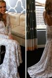 Vestido de novia Elegante Corte Recto largo Natural Escote en V Sala