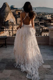 Vestido de novia Cola Barriba Baja escote en V Drapeado Natural Fuera de casa
