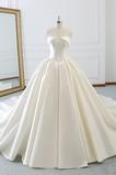 Vestido de novia Sin tirantes Drapeado Cordón Satén Formal Corte-A
