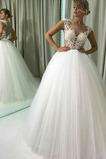 Vestido de novia Invierno Romántico Botón Barco Natural Transparente