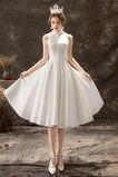 Vestido de novia Fuera de casa Oscilación Botón Satén Hasta la Rodilla