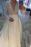 Vestido de novia largo Romántico Satén Baja escote en V Escote en V