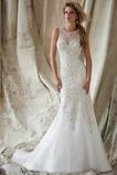 Vestido de novia Organza Pura espalda Sala Joya Abalorio Natural