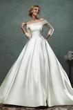 Vestido de novia Escote con Hombros caídos Clasicos Satén Manga larga