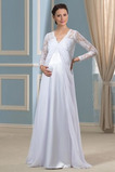 Vestido de novia Imperio Cintura Hasta el suelo Plisado Escote en V