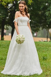 Vestido de novia Sencillo Natural Manga tapada Rosetón Acentuado Dobladillos