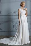 Vestido de novia Sencillo Corte-A Encaje Falta Baja escote en V Gasa