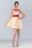 Vestido de graduacion Arco Acentuado Abalorio Verano Pura espalda Satén Corto