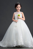 Vestido niña ceremonia Encaje Otoño Arco Acentuado Sin mangas Corte-A Apliques