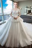 Vestido de novia Otoño Triángulo Invertido Cordón largo Espectaculares