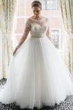 Vestido de novia Cremallera Mangas Illusion Otoño Corte-A Natural largo