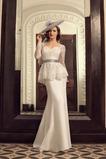 Vestido de novia Cola Barriba Escote Corazón Cordón Mangas Illusion