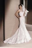 Vestido de novia vendimia primavera Con velo Corte Sirena Joya Cremallera