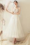 Vestido de novia Verano tul Hasta la Tibia Corte-A Escote de Tirantes Espaguetis