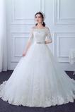 Vestido de novia Cordón Camiseta primavera Elegante Abalorio Capa de encaje