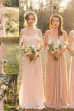 Vestido de dama de honor primavera largo Elegante Gasa Cremallera Corte-A