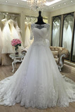 Vestido de novia Iglesia largo Encaje Corte-A Abalorio Pura espalda