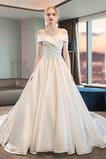 Vestido de novia Corte-A Satén Escote con Hombros caídos Hasta el suelo