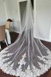 Velo de encaje de cola de iglesia velo de novia de novia velo de encaje de lujo
