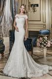 Vestido de novia Corte Sirena Manga corta Natural Barco Otoño largo