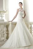 Vestido de novia Pura espalda Apliques Corte-A Encaje Cintura Baja largo