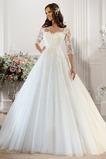 Vestido de novia Sala Barco Fajas largo Alto cubierto Natural
