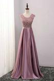 Vestido de dama de honor Satén Elástico Abalorio Natural Capa de encaje Moderno