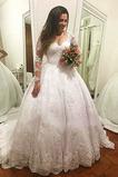 Vestido de novia Playa Natural Falta tul Escote en V Encaje