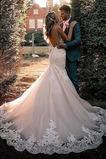 Vestido de novia Corte Sirena Natural Capa de encaje Cremallera Iglesia