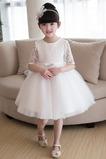 Vestido niña ceremonia Natural Apliques Falta Corte-A Satén La mitad de manga