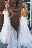 Vestido de novia Apliques Baja escote en V Encaje Sin mangas Otoño Natural